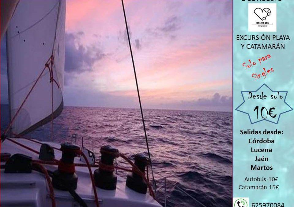 Día de playa con paseo y chapuzón en catamarán. 2 de agosto 2020